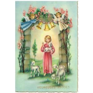 CARTE POSTALE HEUREUSES PAQUES - JESUS ET SES AGNEAUX  - LES CLOCHES