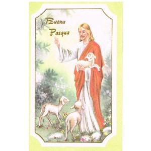 CARTE BUONA PASQUA - JESUS ET TROIS AGNEAUX