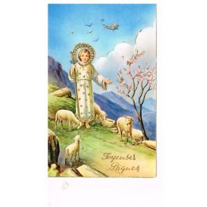 CARTE POSTALE JOYEUSES PAQUES REHAUSSEE DE DORURES - ENFANT JESUS ET AGNEAUX