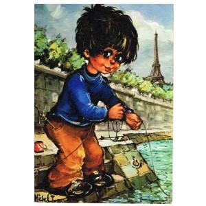 """Carte Postale de MICHEL THOMAS, Série """"POULBOT"""" - N°6 - LE PECHEUR"""