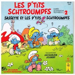 LIVRE-DISQUE 45 TOURS LES P'TITS SCHTROUMPFS - SASSETTE ET LES P'TITS SCHTROUMPFS
