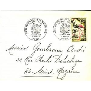 annee-europeenne-de-la-nature-1970-timbre-et-obliteration-1er-jour-flamant-rose