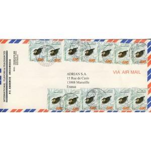 canard-anas-superciliosa-sur-timbres-d-indonesie-sur-lettre