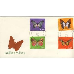 quatre-timbres-sur-lettre-de-papillons-ivoiriens-avec-obliteration-premier-jour