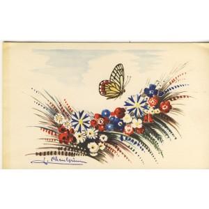 papillon-et-fleurs-sur-telegramme-francais