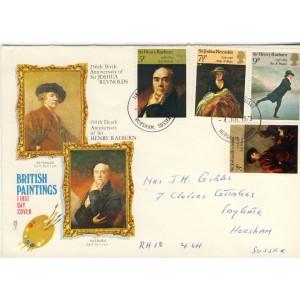 peintres-anglais-quatre-timbres-et-obliteration-1er-jour-anglais